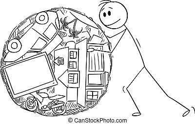 como, excremento, hombre, vector, propiedad, ilustración,...