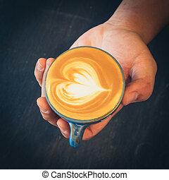como, fazer, arte, latte, café