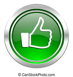 como, icono, verde, botón, pulgar up, señal