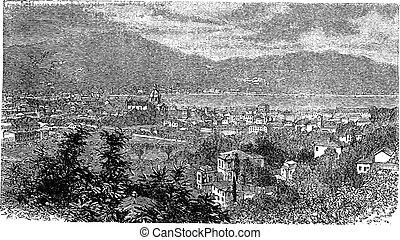 Como, in Lombardy, Italy, vintage engraving