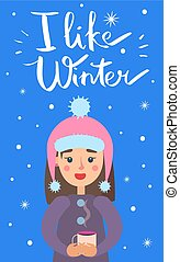 como, invierno, ilustración, vector, niña, copos de nieve