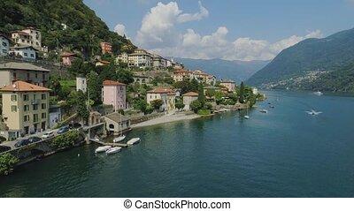 Como Lake Italian riviera houses drone flight near the...