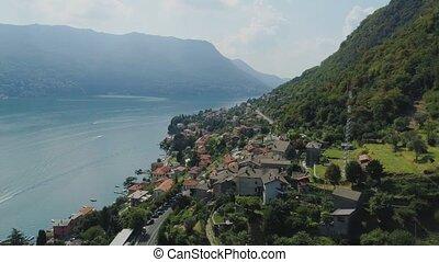 Como Lake Italian riviera Mountain road in the city of...