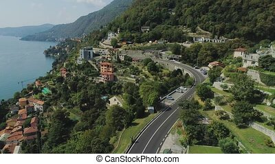 Como Lake Italian riviera Mountain road in the city of...