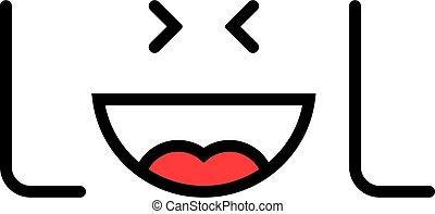 como, lol, logotipo, texto, emoji, simple