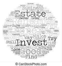 como, para, achar, um, bom, propriedade investimento, texto, fundo, palavra, nuvem, conceito