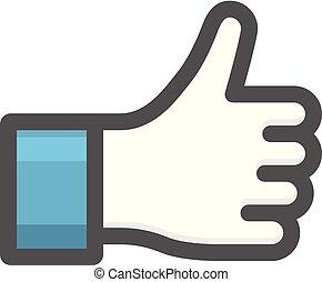 como, pulgar, -, arriba, señal, gesto mano, icono