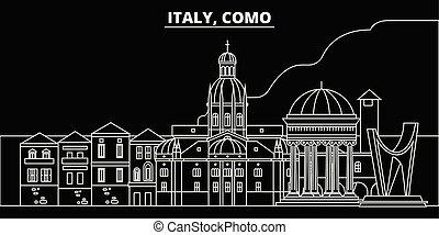 Como silhouette skyline. Italy - Como vector city, italian linear architecture, buildings. Como travel illustration, outline landmarks. Italy flat icons, italian line banner