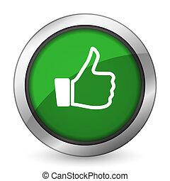 como, verde, icono, pulgar up, señal