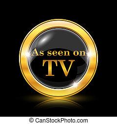 como, visto, ligado, tv, ícone