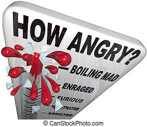 como, zangado, termômetro, medida, raiva, nível, homem, frustrado