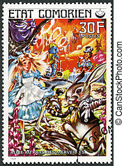 COMORES - 1976: shows Alice in Wonderland, series Fairy Tales