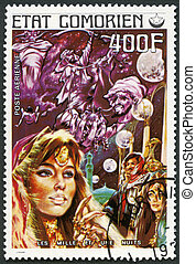 COMORES - CIRCA 1976: A stamp printed in Comores shows Thousand and One Nights, series Fairy Tales, circa 1976