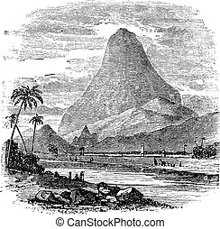 Comorin Peak in Kanyakumari, Tamil Nadu, India, vintage engraving