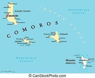 Comoros and Mayotte Political Map - Political Map of Comoros...