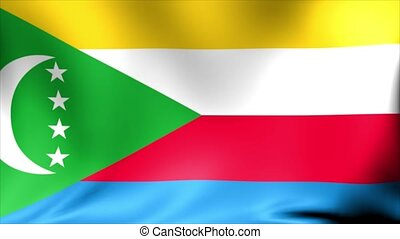 Comoros Flag. Background Seamless Looping Animation.