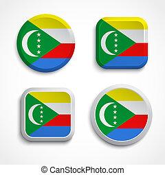 Comoros flag buttons