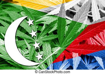 Comoros Flag on cannabis background. Drug policy....