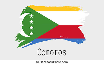 Comoros flag on white background