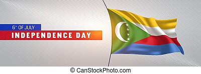 Comoros happy independence day greeting card, banner vector ...
