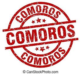 Comoros red round grunge stamp