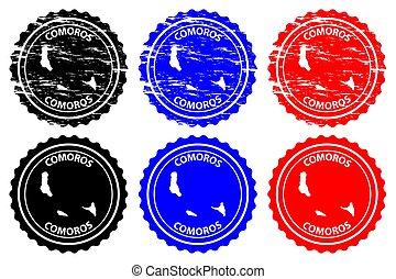 Comoros - rubber stamp - vector, Union of the Comoros map...
