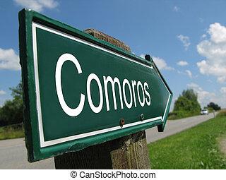 Comoros signpost along a rural road