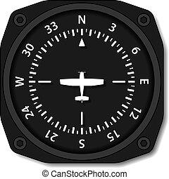 compás, aviación, avión, vector, vueltas