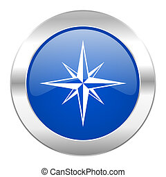 compás, azul, círculo, cromo, tela, icono, aislado