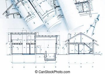 compás de dibujo, rollos, modelo arquitectónico