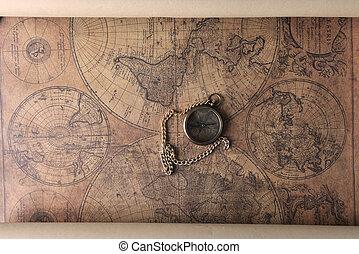 compás, en, viejo, mapa