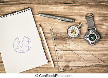 compás, relojde bolsillo, bloc, regla, pluma y, lápiz, -, retro, escena