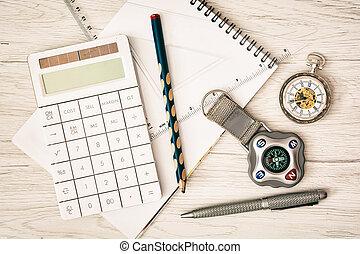 compás, relojde bolsillo, calculadora, bloc, regla, pluma y, lápiz, -, retro, escena