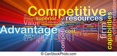 compétitif, incandescent, concept, avantage, fond