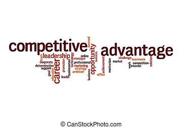 compétitif, nuage, avantage, mot, concept