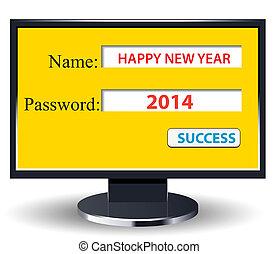 comp, nuevo, retro, año, 2014, feliz