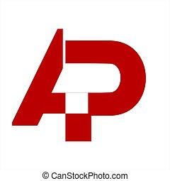compañía, ap, carta, logotipo, iniciales, icono