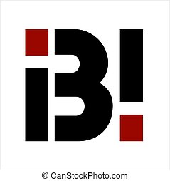 compañía, bi, ibi, carta, logotipo, iniciales