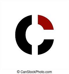 compañía, ci, vector, carta, logotipo, coi, geométrico,...