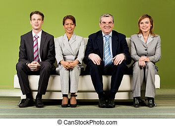 compañía, de, compañeros de trabajo