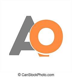compañía, inicial, ao, carta, logotipo, icono