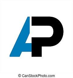 compañía, inicial, ap, carta, logotipo, icono