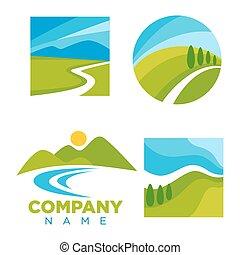 compañía, logotype, con, caricatura, paisaje, ilustraciones,...