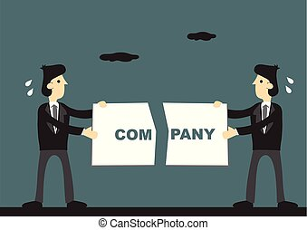 compañía, vector, ilustración, arriba, caricatura, interrupción