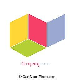 compañía, vector, plano de fondo, nombre, ilustración