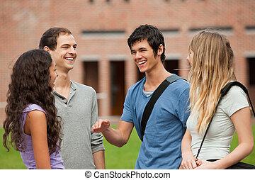 compañero, estudiantes, charlar