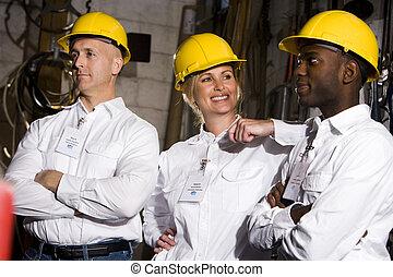 compañeros de trabajo, conversar, en, oficina, mantenimiento, habitación