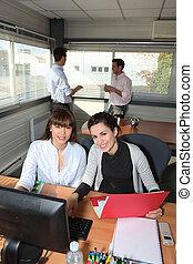 compañeros de trabajo, en, oficina