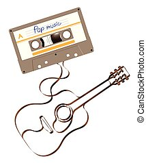 Compact audio cassette green color and Acoustic guitar shape made from analog magnetic audio tape illustration on white background, with copy space