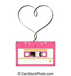 Compact audio cassette pink color and Love heart sign shape made from analog magnetic audio tape illustration on white background, with copy space